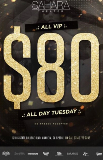 ALL VIPS $80 ALL DAY SHIFT AND NIGHT SHIFT